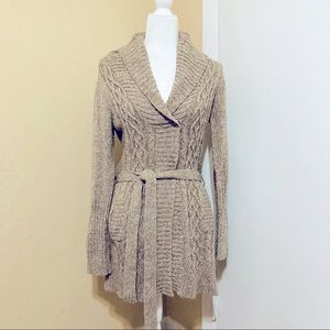 It's Our Time Long Tan/Brown Wrap Cardigan Large